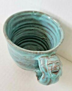Handcrafted Unique Face Handle Mug Signed Stoneware Pottery Face Glazed Mug Cup
