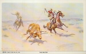 PLEASE READ ! Charles M Russell The Bolter Bull Horse - Standard Chrome Postcard