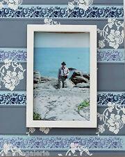 Cadre porte photo 10x15 bois genre ancien vintage rétro déco maison bleu pastel
