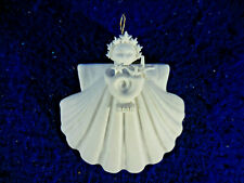 "2000 Margaret Furlong Nib Angel Sea Shell Bisque Porcelain 3"" Cornucopia"