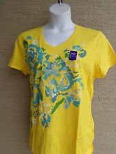 NWT Just My Size Graphic V Neck Tee Shirt Yellow with Glitzy Aqua Flowers 3X