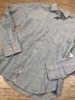 T-51~ Tommy Bahama Womens Button Up Shirt Blue Stripe Long Sleeve Linen Blend XS