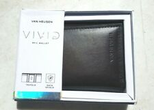 Van Heusen Men's Trifold RFID Vivid Wallet: Black with RED or Brown with BLUE
