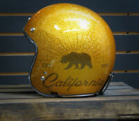 TORC T-50 3/4 Open Face Retro Motorcycle Helmet Metallic Gold Grizzly DOT ECE