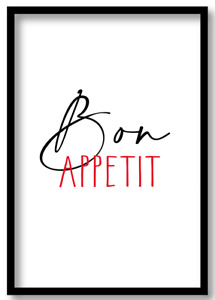 Bon Appetit Kitchen Prints Cooking Quote Bedroom Diner Wall Art A3A4A5 Poster b1