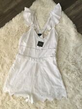 NWT Topshop size 10 Romper White Sleeveless V Neck Embroidered Cutout