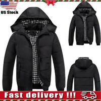 Mens Padded Bubble Coat Hooded Quilted Puffer Jacket Warm Winter Outwear Tops