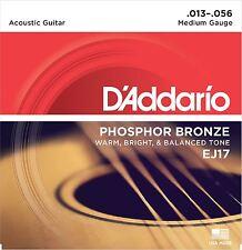 D'addario ej17 bronzo al Fosforo chitarra ACUSTICA 13-56 Corde Medium