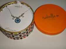 ISABELLA M. Womens Sterling Silver EVIL EYE Necklace Blue Crystals MADE in ITALY
