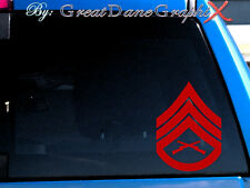 USMC SSgt Staff Sergeant Rank Chevron Vinyl Decal Sticker - Any Color -HIGH QLTY