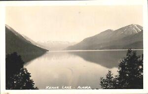 Kenar Lake,AK, Real Photo Postcard, Mountains, Lake, Trees