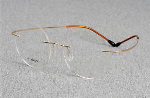 Titanium round Steve Jobs Eyeglasses mens silver gold Rimless Optical Rx glasses