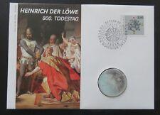 """Numisbrief: 800 Todestag Heinrich d. Löwe m. Mi.1805 u. 10 Mark Silbermünze """"F"""""""