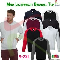 Fruit of the Loom Mens Lightweight Baseball Full Zip Sweat Jacket Unbrushed TOP