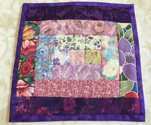 Patchwork Quilt Mini Table Topper, Teddy Bear Quilt, Log Cabin, Purple Calicos