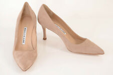 Manolo Blahnik tan brown 6 36 suede slip on point toe classic pump shoe NEW $625