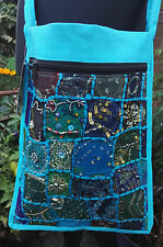 BOHO EMBROIDERED RECYCLED SARI PATCHWORK COTTON SHOULDER MESSENGER BAG TURQUOISE
