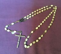 """*Vintage Religious Rosary Pearly Look Plastic Beads Made Italy 1 3/4"""" crucifix"""