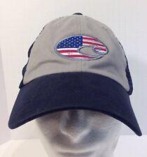 COSTA DEL MAR USA FLAG UNITED TRUCKER ADJUSTABLE MESH HAT NAVY GRAY 14df1c391696