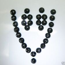 5 PIECES OF 4mm ROUND CABOCHON-CUT JET-BLACK NATURAL INDIAN STAR DIOPSIDE GEMS