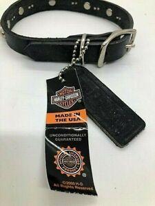 "Harley Davidson 14"" Black Leather Spiked Dog Collar - Harley Emblem - New Puppy"