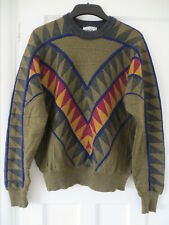 Vtg Carlo Colucci oversize batwing wool mix zigzag chevron jumper mens womens 52