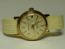 Vintage CARAVELLE Men's Gold Plate Manual Wind Swiss Made Day Date Watch