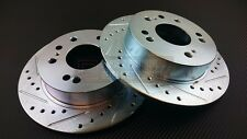 P2M Zinc Coated Slotted Drilled Rear Brake Rotors 240SX S13 S14 4 Lug 5 Lug New