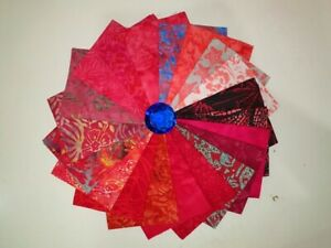 20 x Batik Hand Dyed Tie Dye Imperial Fat Quarters Hollywood Red