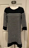 Allihop Navy Blue & White Striped 3/4 Sleeved Dress, Size Medium
