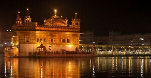 Sikh Golden Temple Amritsar India Punjab Wall Art Large Framed Canvas Picture