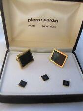 Pierre Cardin Cufflinks & Studs, Rectangular, Gold-Tone and Onyx, NOS