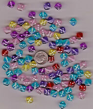 LOT OF 100 MIXED 9MM DICE BEADS WITH HOLE DRILLED IN THEM.. U.S. SELLER.  - C29