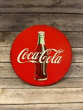 """Coca-Cola Round Metal Sign 11"""" Diameter Wall Hanger Advertising One Sided"""