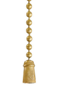"B&P Lamp Antique Style ""Tassel"" Pull Chain, Antique Brass Finish"