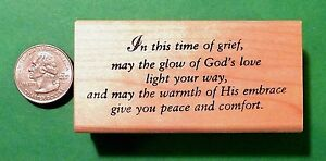 In This Time of Grief -  Sympathy Card Rubber Stamp, Wood Mounted
