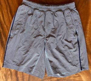 Men's Lululemon Pace Breaker Lined Shorts Blue/ White Diagonal Stripe LARGE
