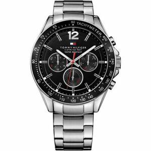 Tommy Hilfiger Luke 1791104 Black & Silver Mens Tachymeter Chronograph Watch