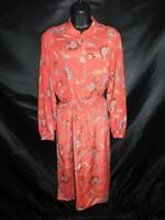 Vintage Jack Mulqueen M Salmon Pink Blue Floral Shirt Dress Long Sleeve Belted
