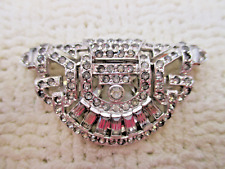VICTORIAN EDWARDIAN DECO WG RHINESTONE FUR DRESS CLIP VG ANTIQUE ESTATE JEWELRY