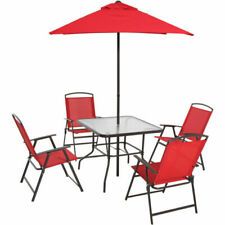 Mainstays Albany Outdoor Dining Table with 4 Chairs and Umbrella - Red