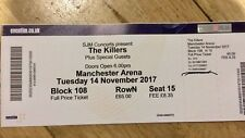The Killers Tickets, (seated) Tues 14th Nov, Manc arena, block 108 row N seat 15