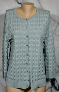 CABLE & GAUGE Pale Sage Green Cardigan Sweater Large Wrist Length Sleeves