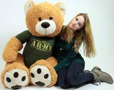 Big Plush 5 ft Military Teddy Bear Wears T-shirt SOMEONE IN THE ARMY LOVES YOU