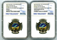 2017 CANADA $2 TOONIE NGC MS66 GLOW IN DARK DANCE SPIRITS STRUCK THRU MINT ERROR