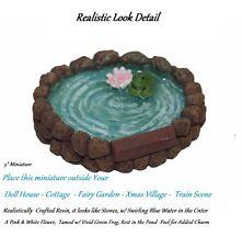 Realistic fax Stone Town Square Fish Pond Miniature Dollhouse xmas village
