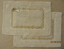"""NEW Set of 2 FABRIC Table CLOTH PLACEMATS 21"""" x 15"""" TAN & Gold Brown Pattern"""