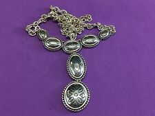 Silver Tone Napier Disc Pendant Dangle outlined western Statement  necklace