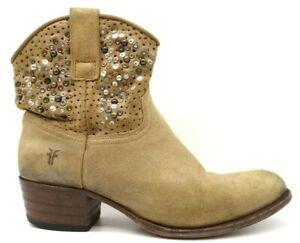 Frye Brown Leather Metallic Studded Zip Up Block Heel Ankle Boots Women's 7 M