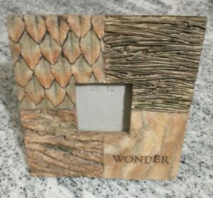 Photo Picture Frame 2.5 x 2.5 ceramic faux wood bark tree forest nature Wonder